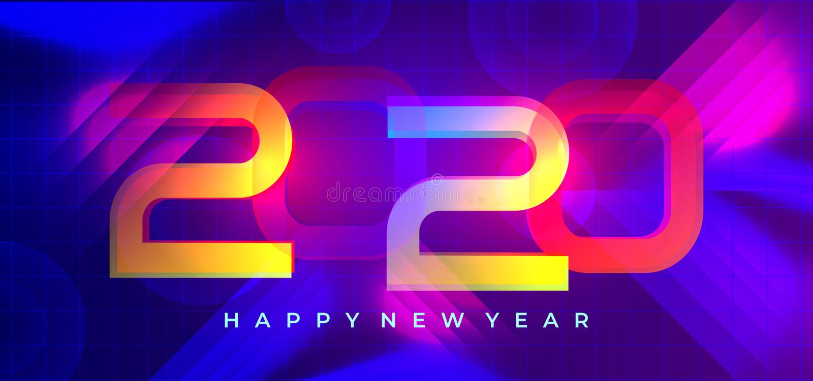 Colorful happy new year 2020 greeting modern design. Modern greeting celebration with neon lights and gradient colorful background stock illustration