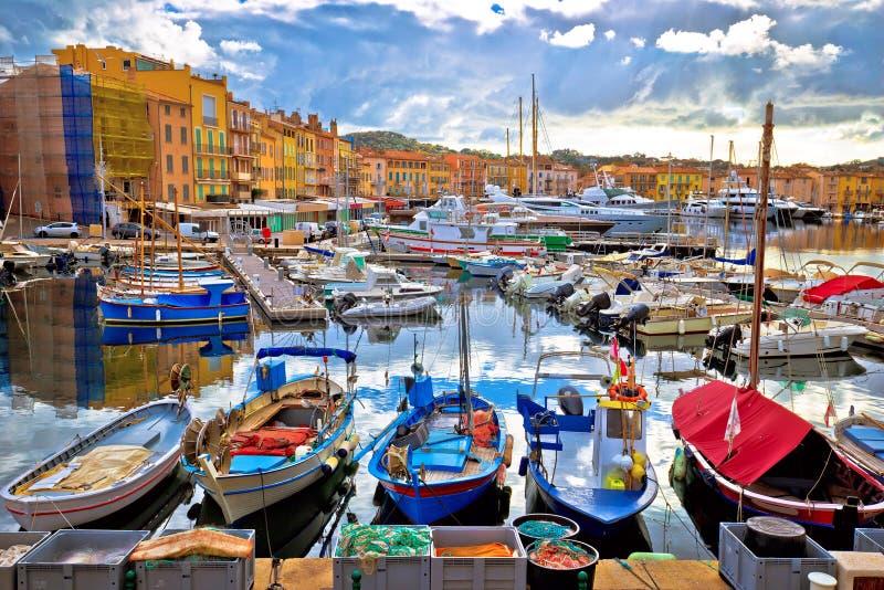 Colorful harbor of Saint Tropez at Cote d Azur view royalty free stock photo