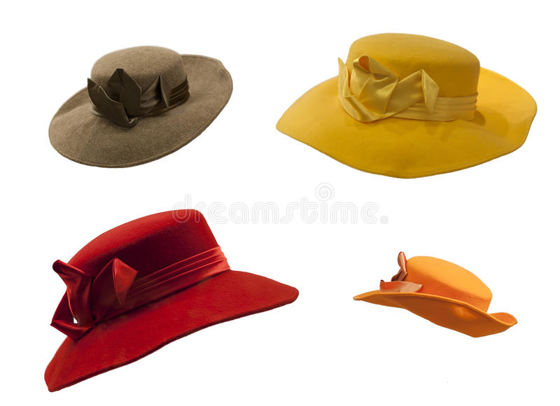 Isolated Hats Hat. Photo of four different colored hat hats, isolated on white background stock photos