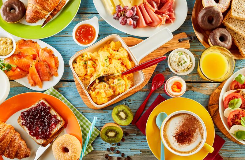 Colorful healthy selection of food for breakfast stock photos