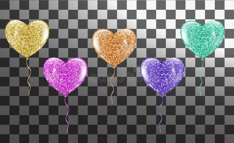 Colorful Heart balloons collection stock illustration