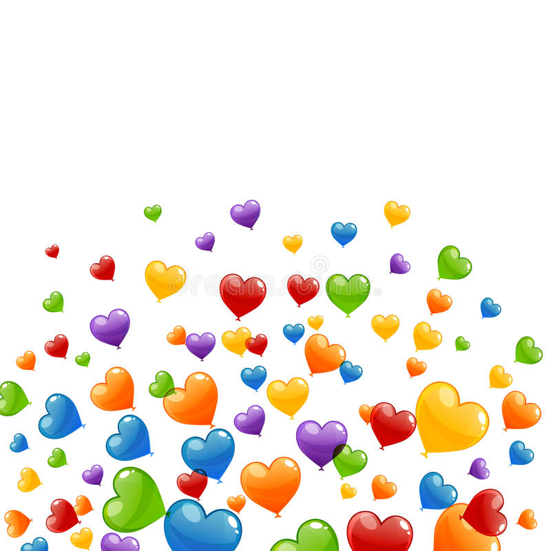 Colorful Heart Balloons. Illustration of a Background with Colorful Heart Balloons royalty free illustration