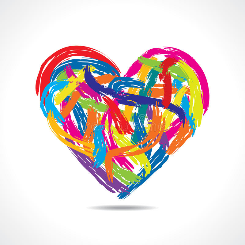 Colorful Heart With Paint Strokes Stock Vector ...