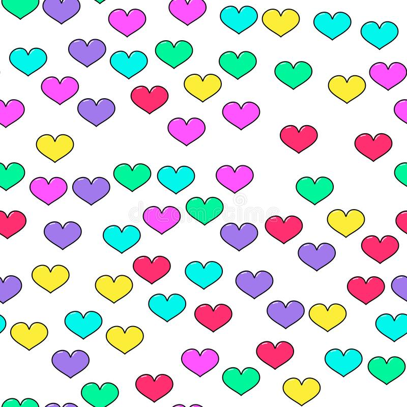 Colorful heart seamless pattern on white background. Paper print design. Abstract retro vector illustration. Trendy textile, stock illustration