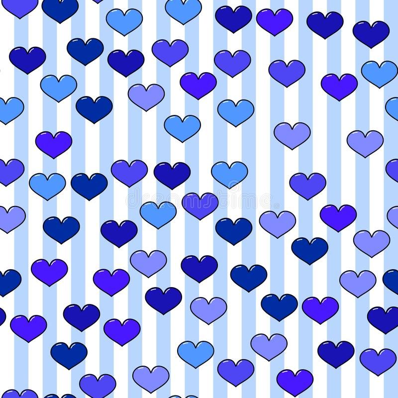 Colorful heart seamless pattern on white background. Paper print design. Abstract retro vector illustration. Trendy textile, royalty free illustration