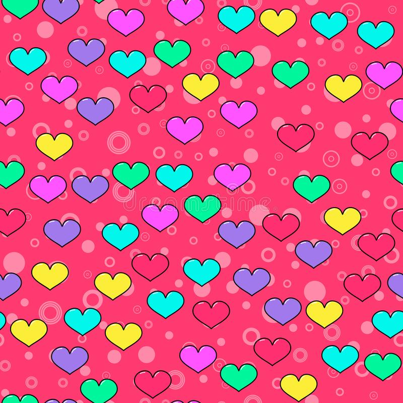 Colorful heart seamless pattern on white background. Paper print design. Abstract retro vector illustration. Trendy textile,. Fabric, wrapping. Modern space royalty free illustration