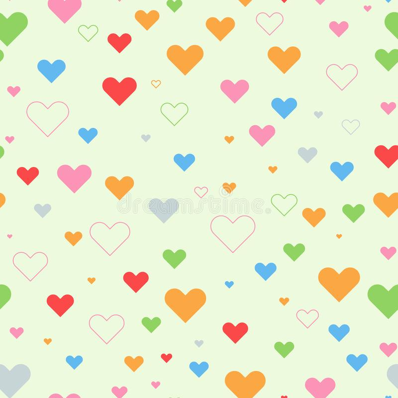 Colorful Heart seamless with random size for your background or textile design. Solid color vector illustration. stock illustration