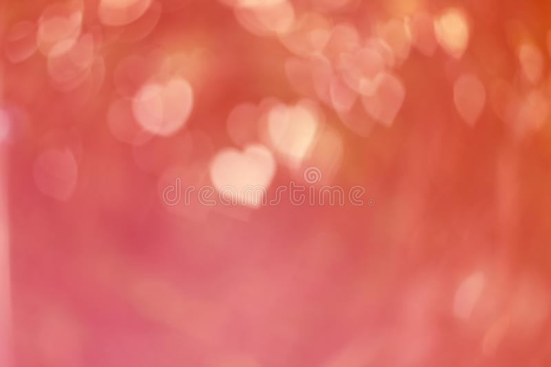 Colorful heart shape bokeh, abstract of blurred bright light for valentines day, defocused background stock photography