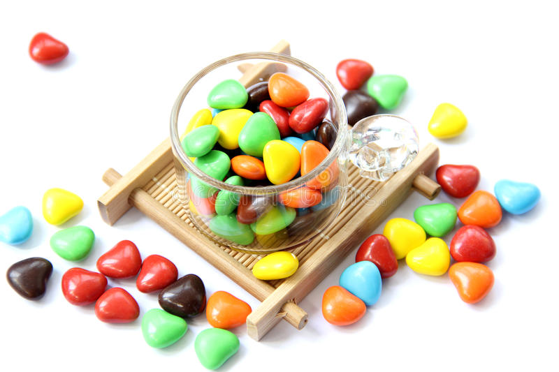 Colorful heart shape candy royalty free stock image