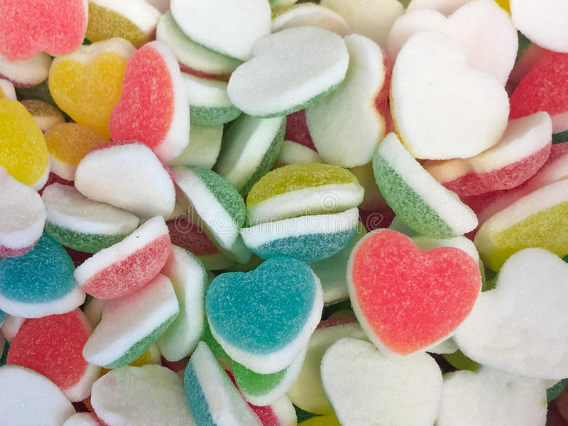 Colorful Heart shape Jelly Candy bonbon snack group. sweet for valentines day background. pastel color red blue green yellow pink royalty free stock images