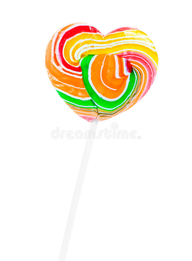 Colorful heart shape lollipop isolated stock photo