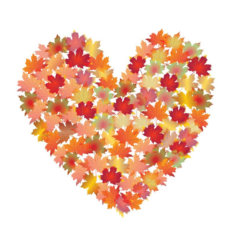 Colorful heart shape from maple autumn leaves. royalty free illustration