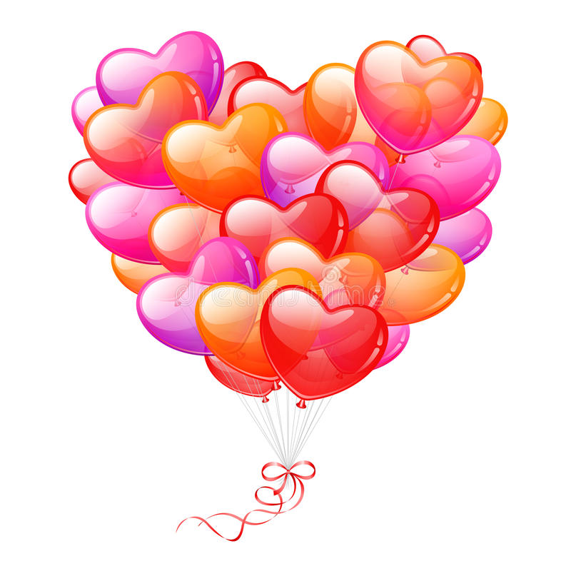 Colorful Heart Shaped Balloons Stock Photos