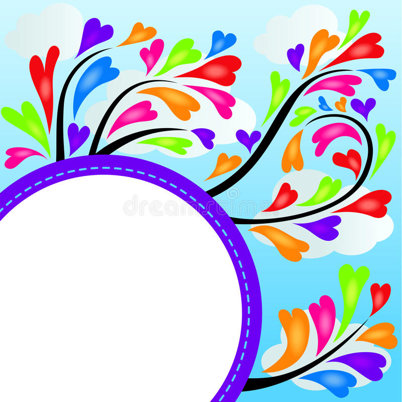 Colorful heart tree frame. Scalable vectorial image representing a colorful heart tree frame royalty free illustration