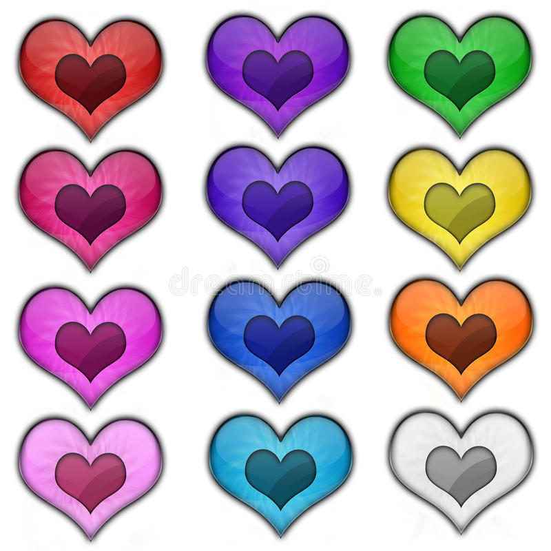Colorful Heart Valentine Love Web Icon Buttons stock illustration