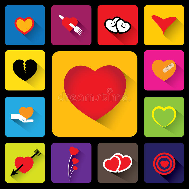 Colorful heart vector icons collection set - flat design stock illustration