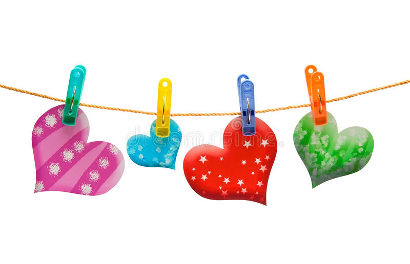Colorful hearts royalty free stock photos