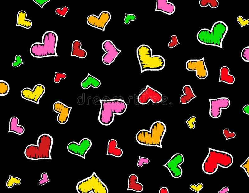Colorful Hearts background / texture stock illustration