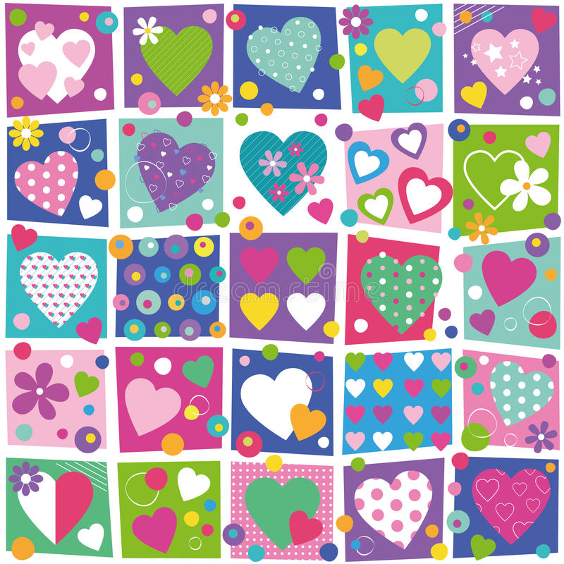 Colorful hearts collection pattern royalty free illustration