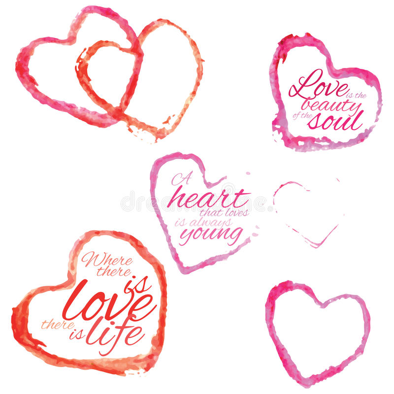 Colorful hearts. Collection of watercolor hearts with quotations on white background royalty free illustration