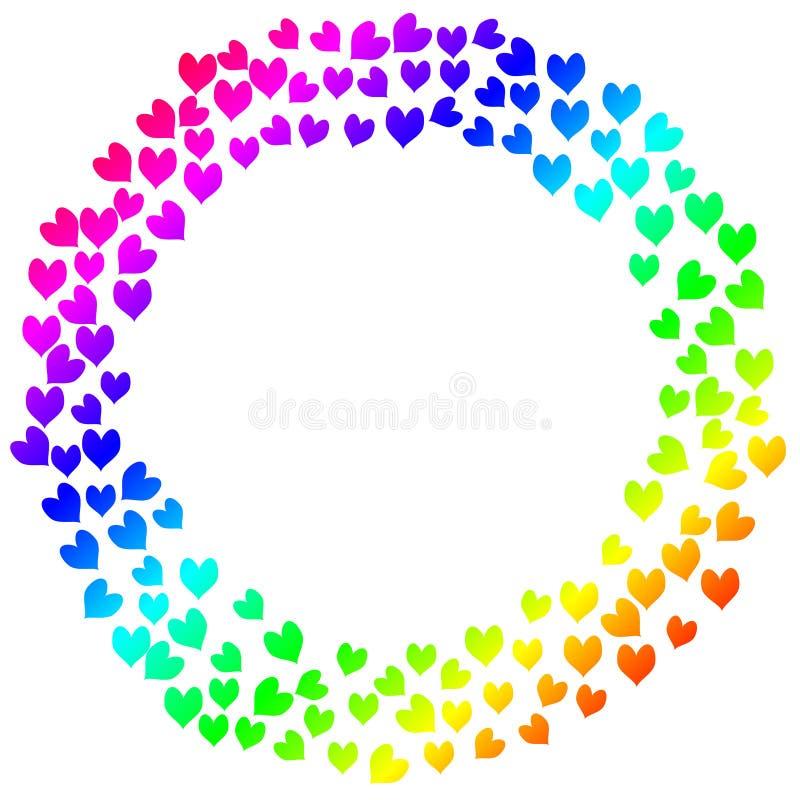 Colorful Hearts Frame Invitation Card Stock Illustration