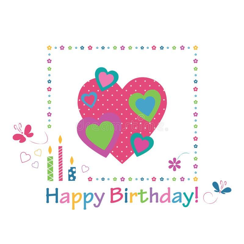 Colorful Hearts Happy Birthday Card Stock Vector