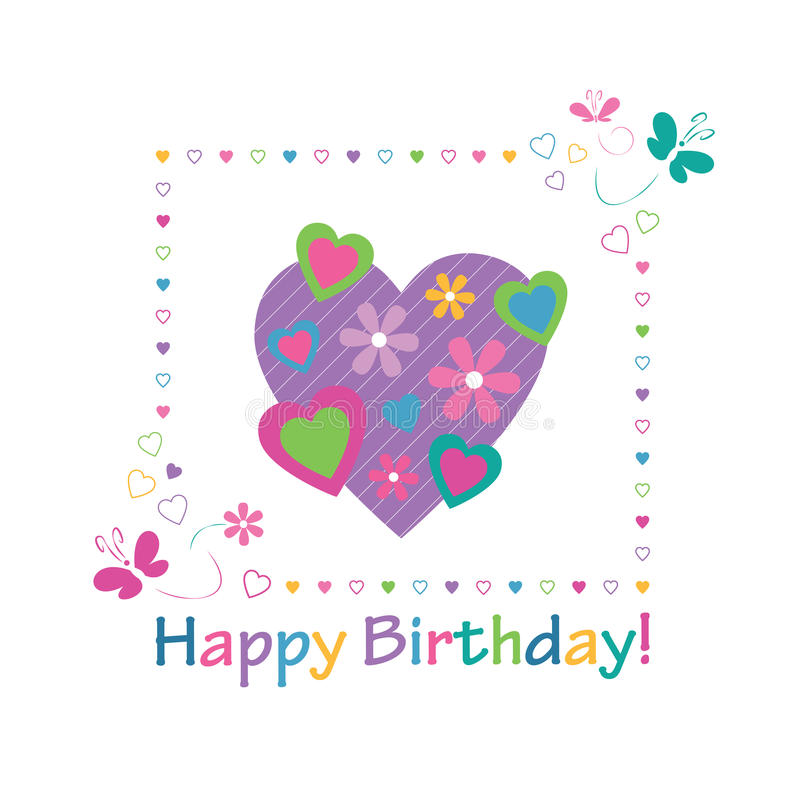 Colorful hearts happy birthday card stock illustration