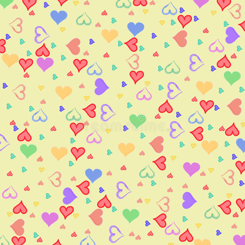Colorful hearts. Mini hearts on yellow background royalty free illustration