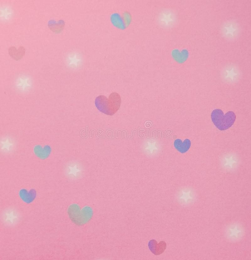 Hearts and stars pattern pink background stock illustration
