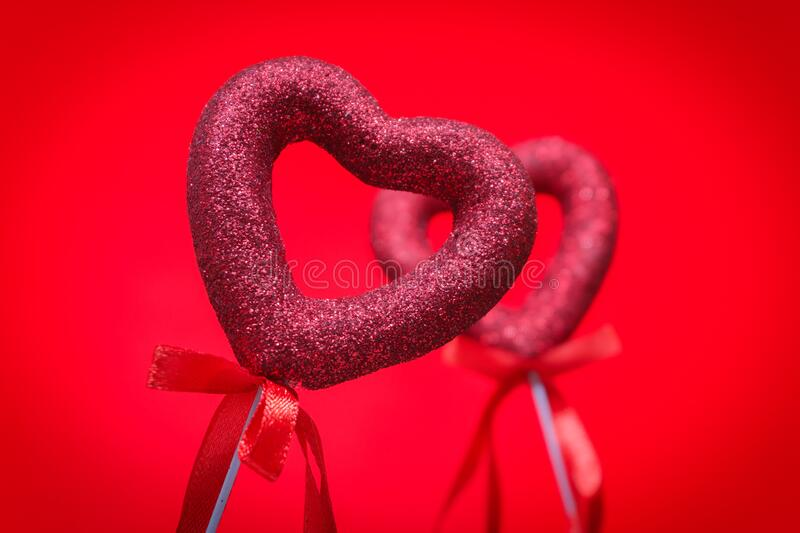 Colorful hearts with ribbon, Gift for Valentine`s Day stock photo