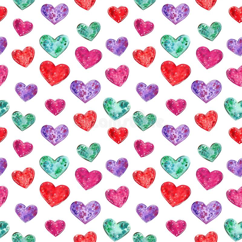 Colorful hearts seamless pattern, watercolor illustration royalty free illustration