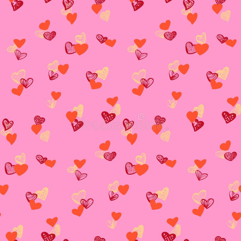 Colorful hearts seamless pattern on pink background vector illustration
