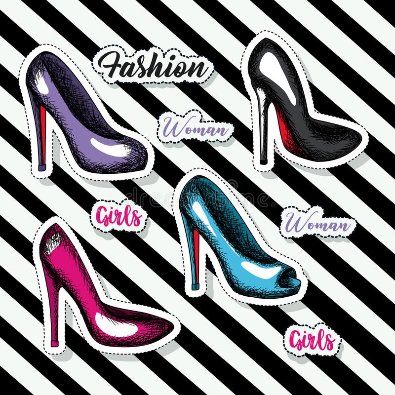 Colorful heeled shoes sticker and text of girls fashion woman on pop art diagonal linear background. Vector illustration royalty free illustration