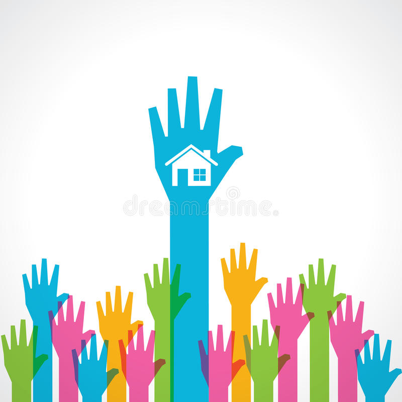 Colorful helping hand with home icon vector illustration