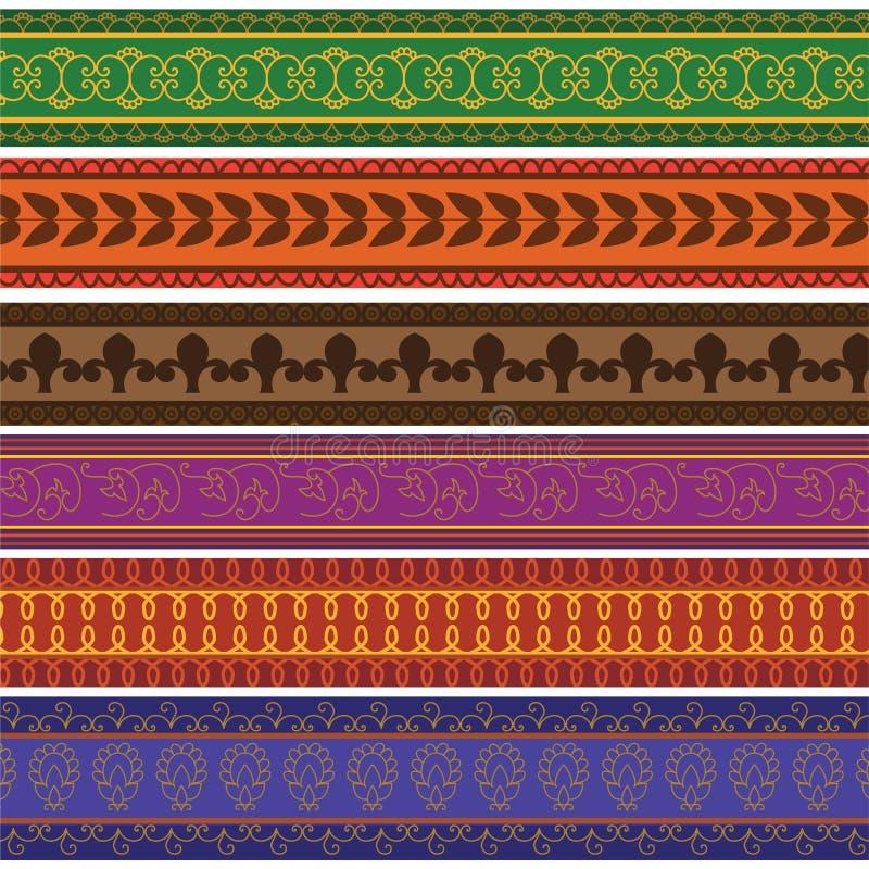 Colorful Henna Borders vector illustration
