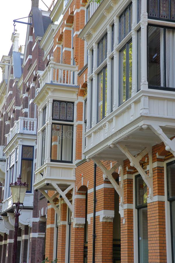 Colorful heritage buildings and balconies, located on Van Eeghenlaan street next to Vondelpark, Amsterdam. Netherlands royalty free stock images