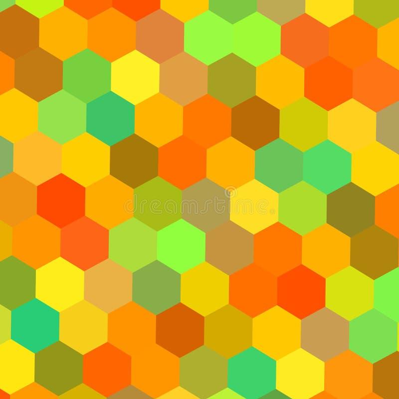 Colorful hexagons illustration. Color art. Warm color mix. Tech matrix. Web site header graphics. Happy holiday back. Frame. stock illustration