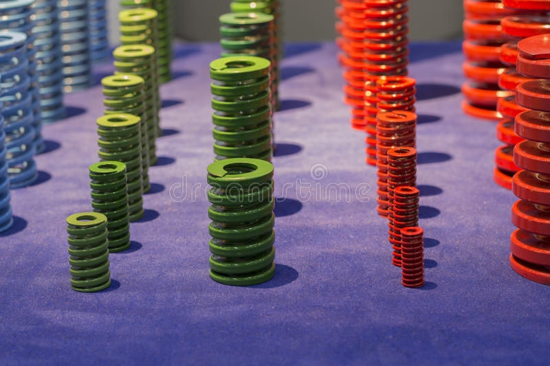 Colorful High strength coil metal springs for mold and die. With different sizes stock photography