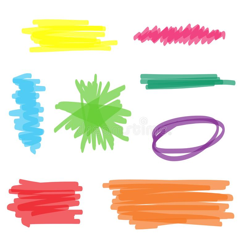Colorful Highlighter Marker Set stock illustration