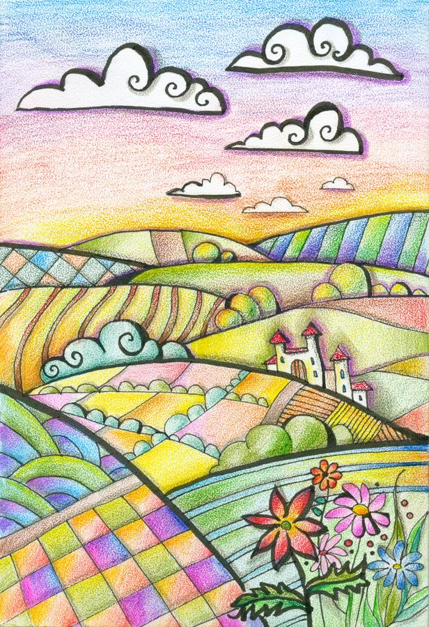 Colorful hilly landscape with castle and flowers. Summer day. Fantasy drawing by colored pencils stock illustration