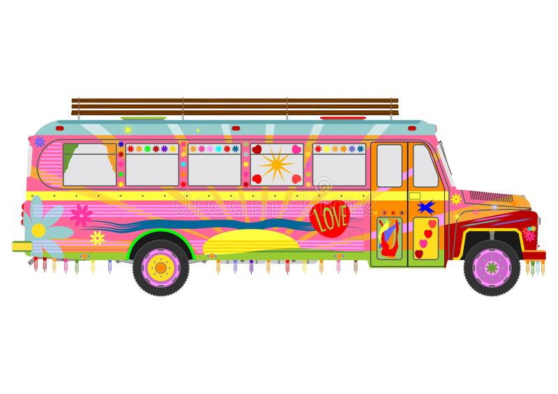 Download Colorful hippie bus stock vector. Image of obsolete, pacifism - 34547059