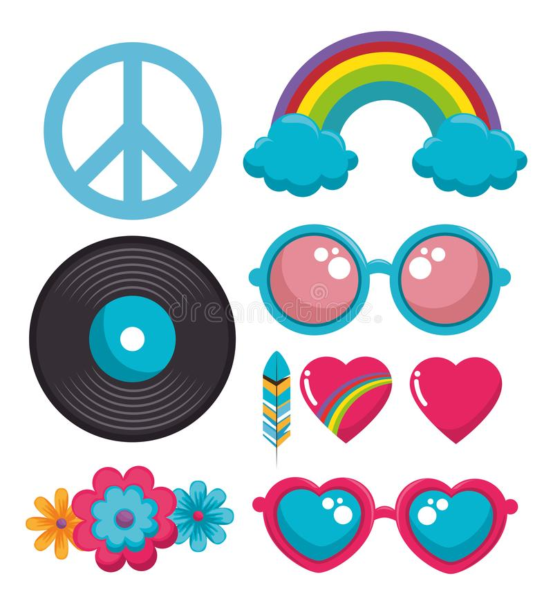 Colorful hippie icons royalty free illustration
