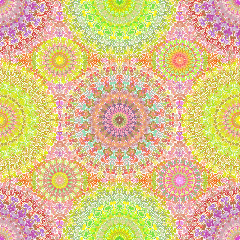 Colorful Hippie Mandala Seamless Pattern. Complex colorful floral background from round ornaments. For boho design print, fashion, wrapping paper, wallpaper stock illustration
