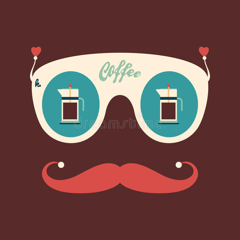 Colorful hipster vintage sunglasses with coffee kettles. royalty free illustration