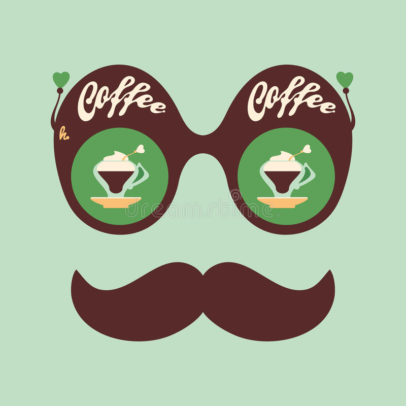 Colorful hipster vintage sunglasses with fragrant coffee. vector illustration