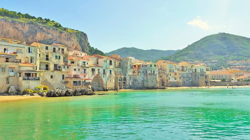 Colorful historic buildings in europe by the sea stock image