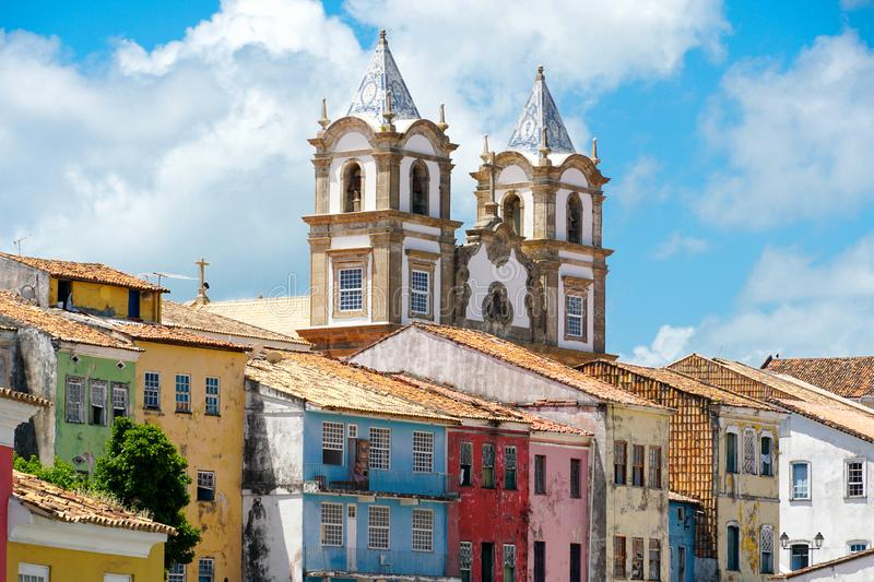 Colorful historic district of Pelourinho with cathedral on the background. Salvadore, Bahia, Brazil. Colorful historic district of Pelourinho with cathedral on royalty free stock photos
