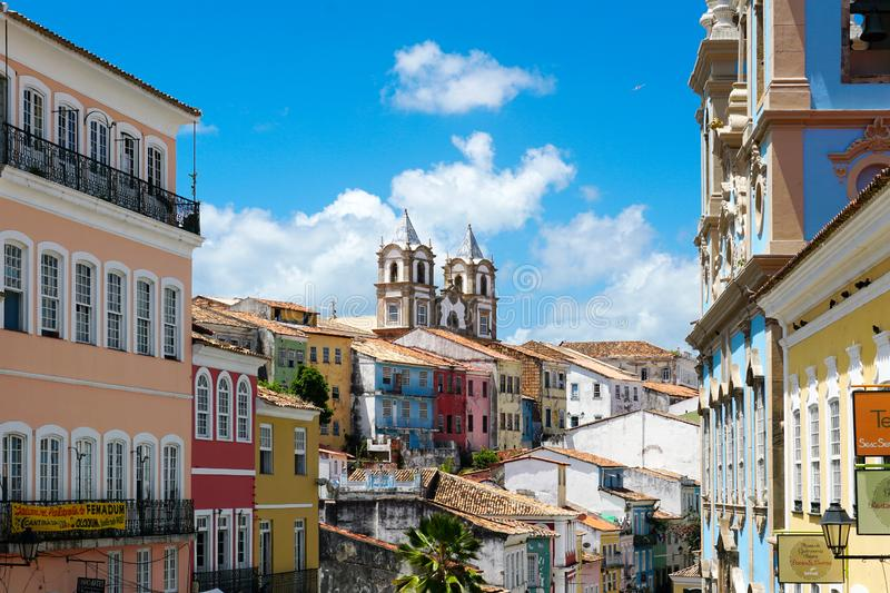Colorful historic district of Pelourinho with cathedral on the background. Salvadore, Bahia, Brazil. Colorful historic district of Pelourinho with cathedral on royalty free stock photography