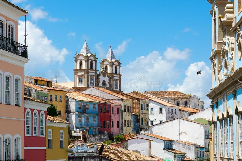 Colorful historic district of Pelourinho with cathedral on the background. Salvadore, Bahia, Brazil. Colorful historic district of Pelourinho with cathedral on royalty free stock images
