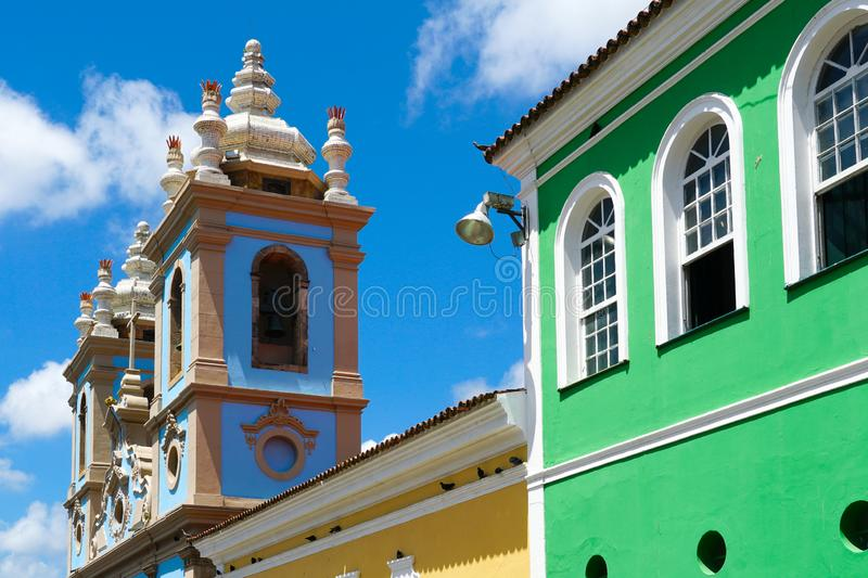 Colorful historic district of Pelourinho with cathedral on the background. Salvadore, Bahia, Brazil. Colorful historic district of Pelourinho with cathedral on stock images